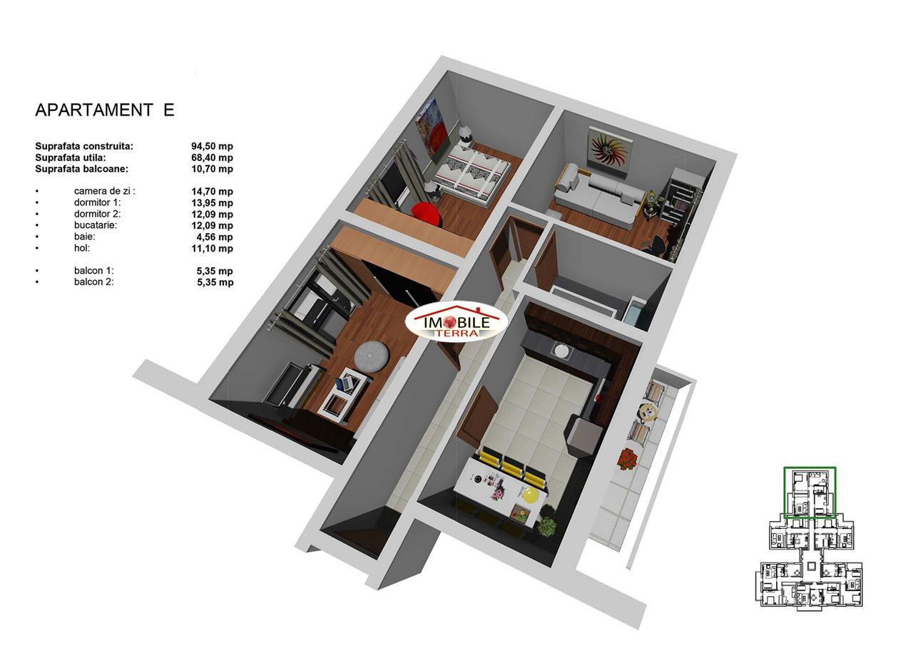 Apartament 3 camere, 68mp, Tip E, zona Tineretului
