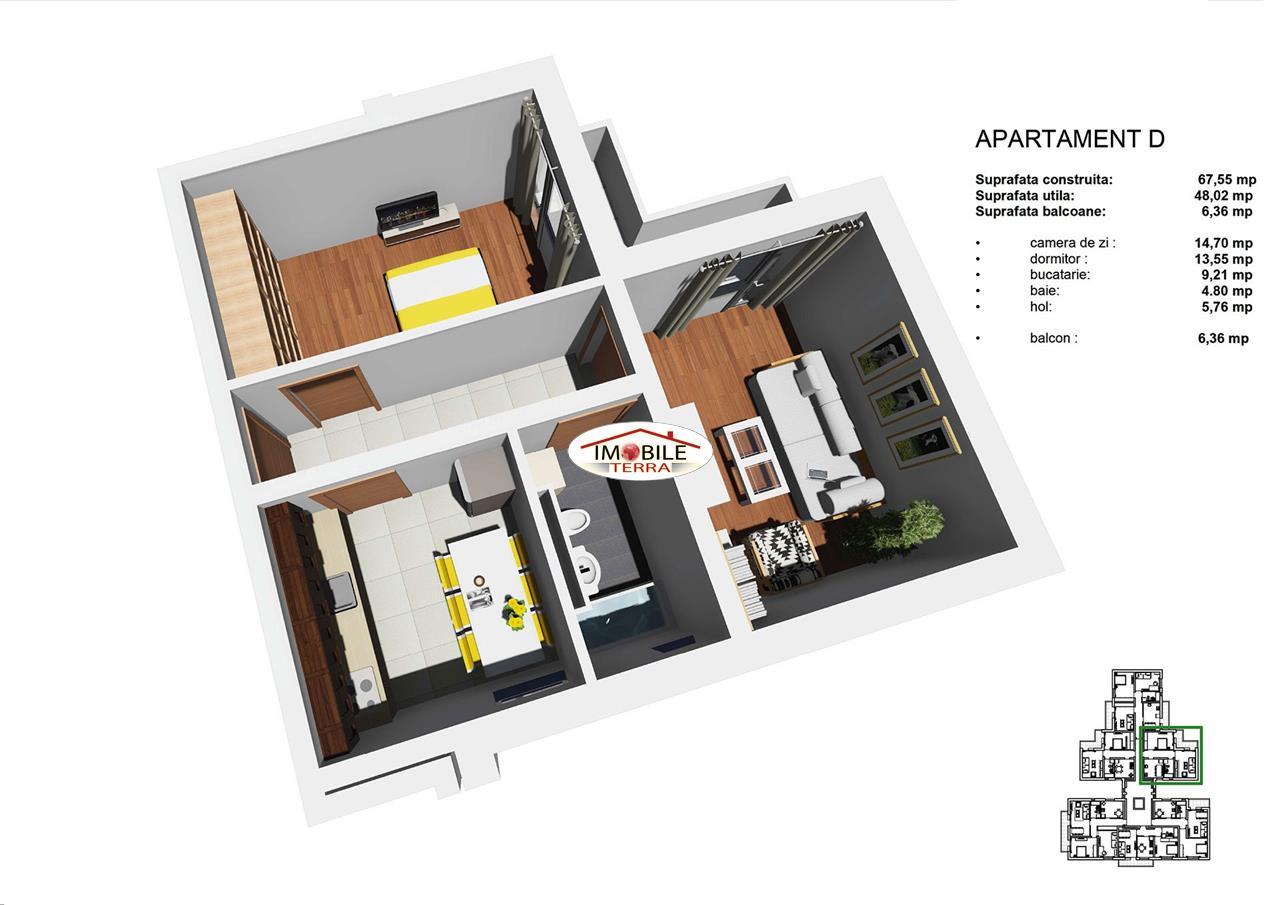 Apartament 2 camere, 48mp, Tip D, zona Tineretului