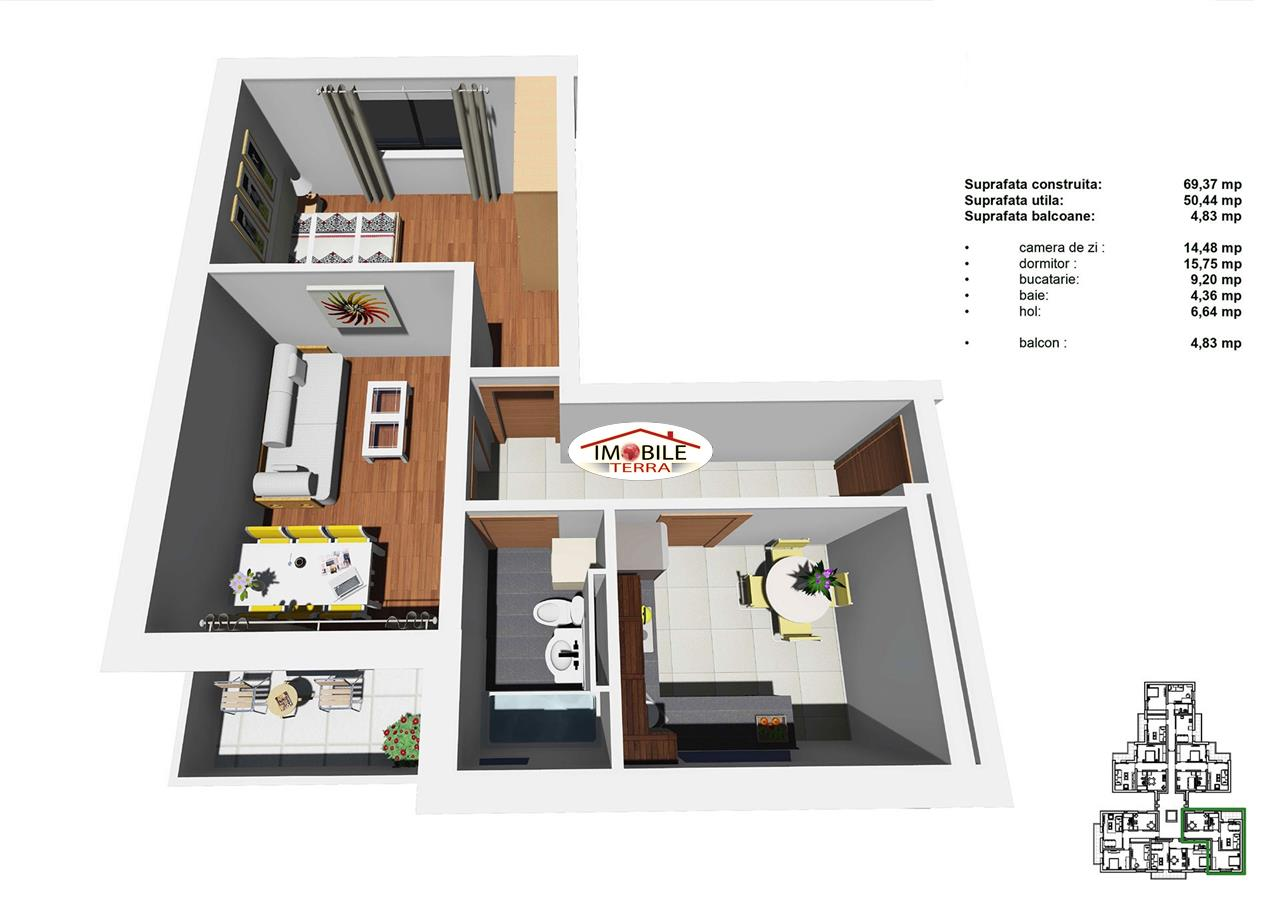 Apartament 2 camere, 48mp, Tip C, zona Tineretului
