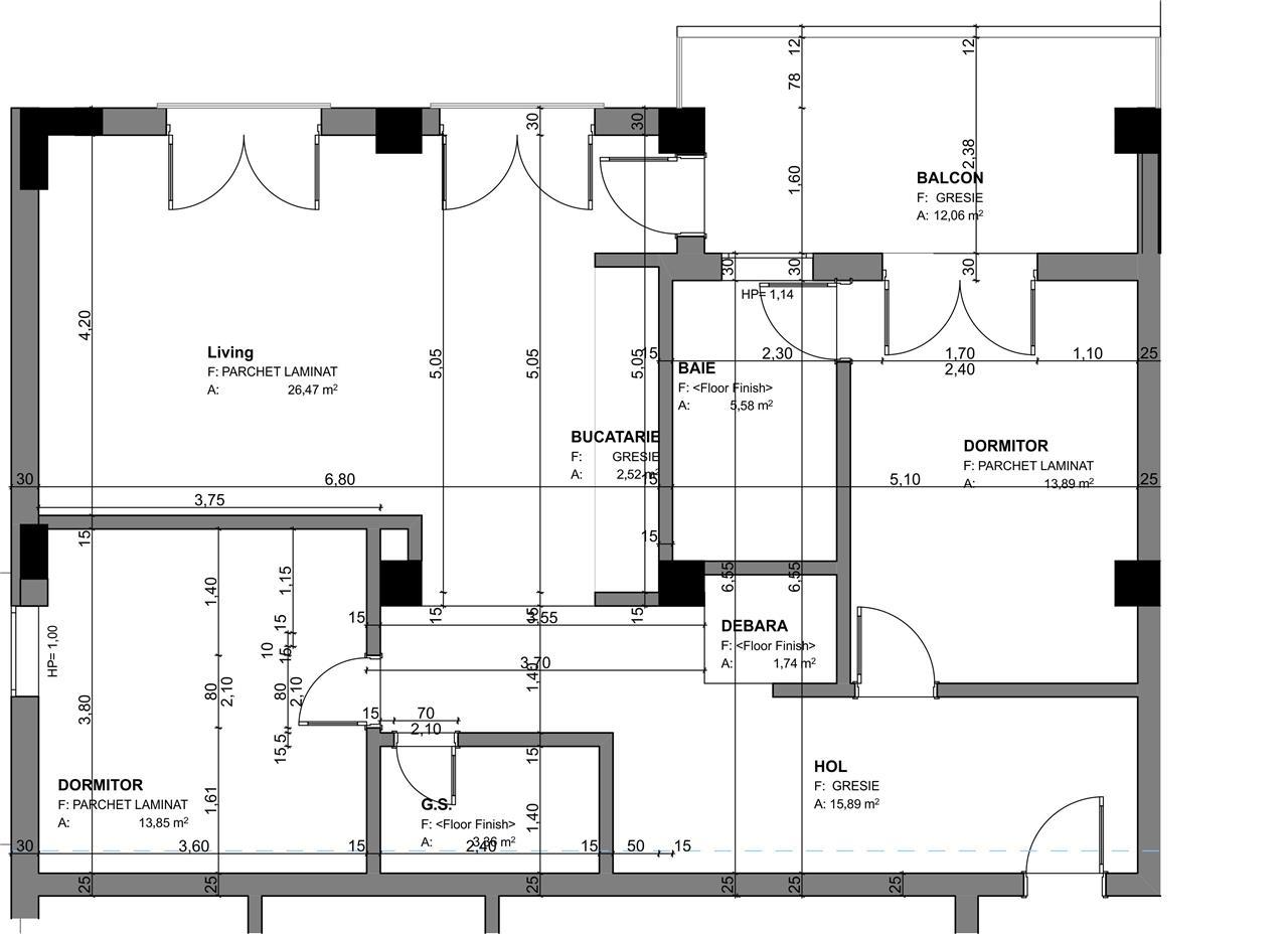 Apartament 3 camere, Tip 1, etajul 13, Balanta Residence Sibiu