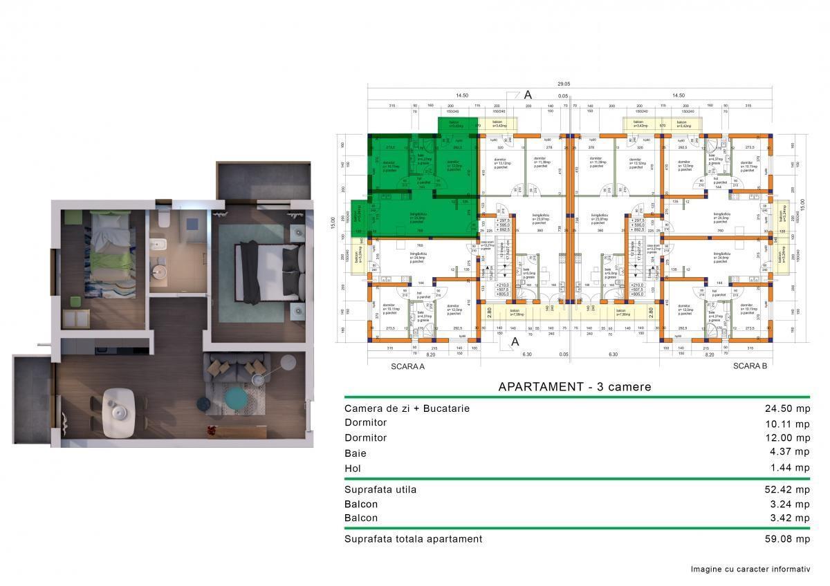 Apartamente noi cu 3 camere TIP2,  de la dezvoltator fara comision