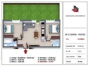 Apartament 3 camere cu gradina de vanzare in Selimbar - Sibiu