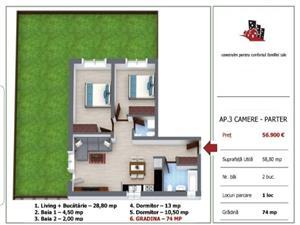 Apartament Nou 3 camere si gradina de vanzare in Selimbar Sibiu