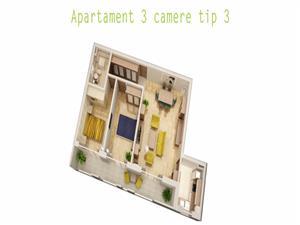 Comision 0%  - Apartament 3 camere, 70mp + 12 mp balcon
