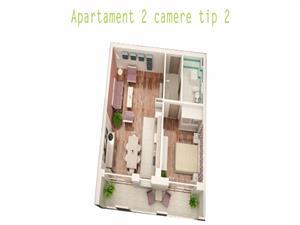 Comision 0%  - Apartament 2 camere, 49mp + 9 mp balcon