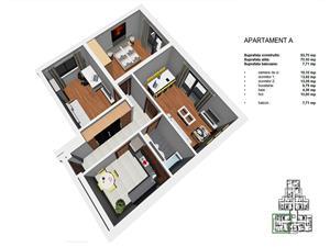 Apartament 3 camere, 70mp, Tip A, zona Tineretului