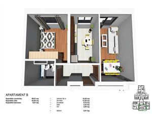 Apartament 2 camere, 44mp, Tip B, zona Tineretului
