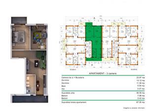Apartament nou cu 3 camere TIP1 direct de la Dezvoltator fara comision